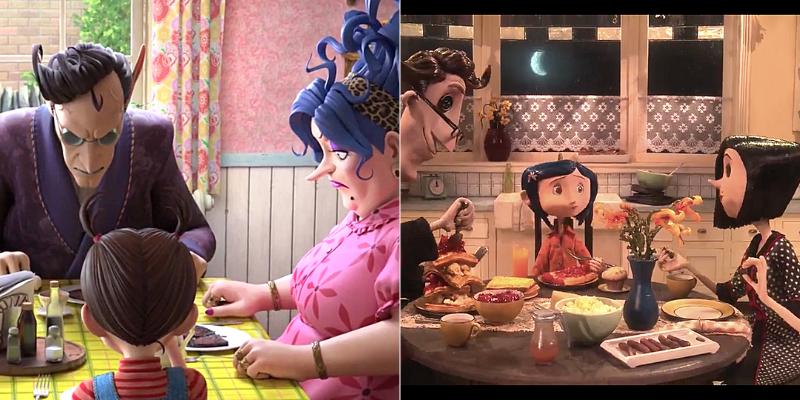 Pour le dîner de famille on a aussi honteusement pompé sur Coraline, sauf que chez nous, il se passe rien.