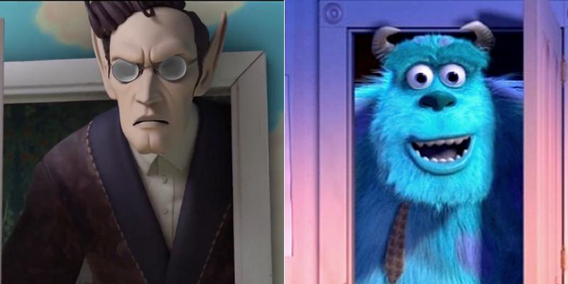 Troubalnte ressemblance entre la Mandrake et Sully dans Monstres et Compagnie. Mais ne dites rien, on n'a pas les moyens de payer les droits à Disney-Pixar